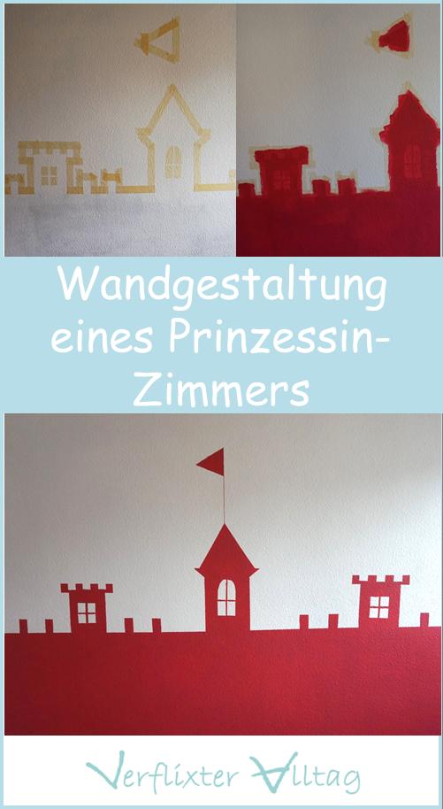 Ideen zur Gestaltung eines Prinzessinnenzimmers - eine Burg-Wand