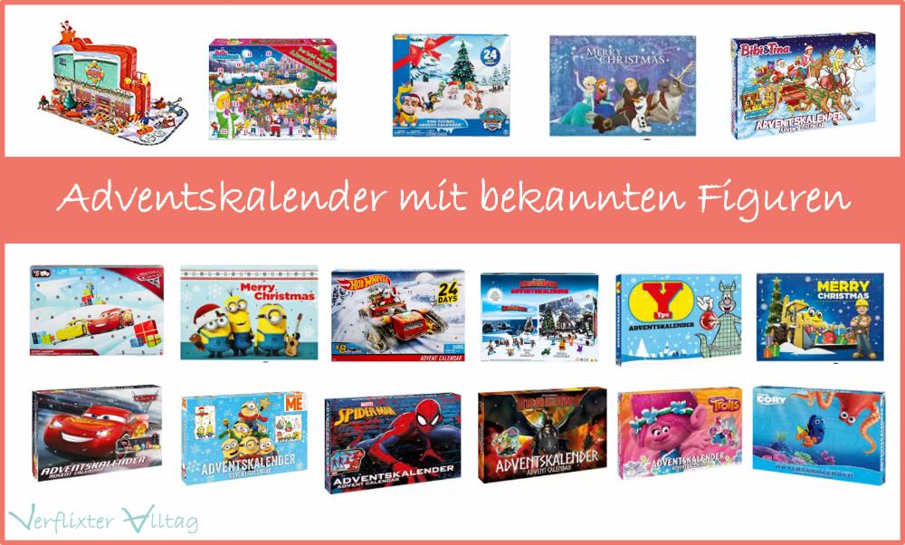 Adventskalender mit bekannten Figuren wie Minions, Cars, Frozen und co.